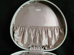 Vtg MidCentury Samsonite Cream/Ivory Marble Luggage Set. Train Case & Round Case