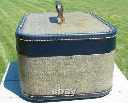 Vtg Wood Wooden Cloth Coated Luggage Suitcase Set 3 Train Cosmetic Case Hard Old