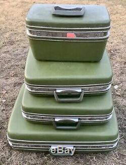 Vtg set Samsonite suitcase Silhouette Green Makeup Train Case Hard Luggage Keys
