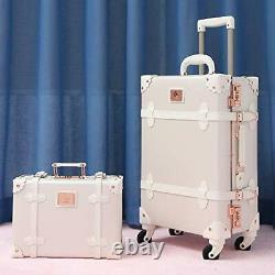 Womens Luxury Vintage Trunk Luggage Set 2 Piece Cute Retro 20+12 Rose White