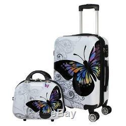 World Traveler 4-Piece Hardside Upright Spinner Luggage Set, Butterfly