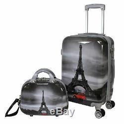 World Traveler Destination 2-Piece Carry-on Hardside Spinner Luggage Set Paris