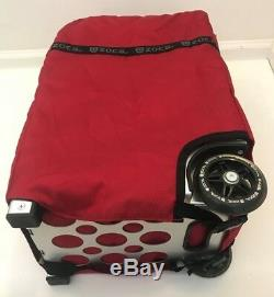 ZUCA Pro Set Bag 3 Pouches Red Silver Frame with Travel Cover Makeup Artist Seat