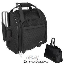 2 Pcs Travelon Sac Underseat Spinner Carry-sur Roues Avec Back-up Bag Set Noir