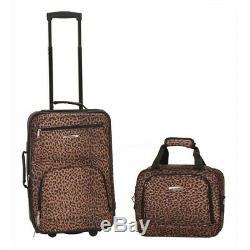 2-pc. Leopard Imprimer Luggage Set Valise De Rolling Carry-sur Un Vol Sac Fourre-tout En Tissu