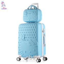 28'' Femmes Bonjour Kitty Roller Trolley Bagage Toilette Cosmétique Boîte Boîte Sac Ensemble