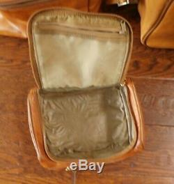 3 Pc Set Hartmann Belting Cuir Messenger Bagages, Bagage À Main Et Trousse De Toilette