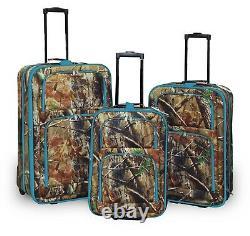 3 Pc. Valise À Bagages Extensible Set Camo Avec Blue Color Trim Camouflage