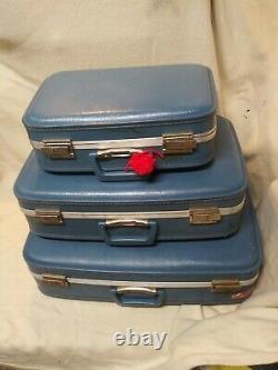 3 Pc Vintage Bleu Nesting Luggage Set Carry Valise MI Siècle, Étui Rigide