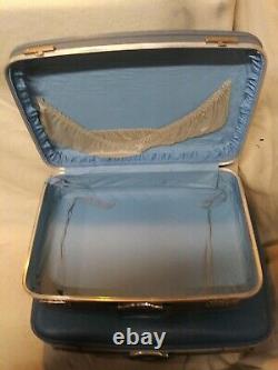 3 Pc Vintage Blue Nesting Luggage Set Valises MI Siècle Continuer, Cas Dur