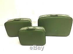 3 Pc Vintage Verde Nidifiant Set Valise Sac Bagages Carry Milieu Du Siècle Sur L'avocat
