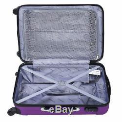 3 Pc Violet Luggage Set Sac Trolley Hard Shell Voyage Valise Roue Poignée De Verrouillage