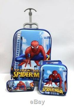 3 Pcs Spiderman Cartoon Valise Trolley Set Cadeau De Noël Sac D'école Enfants