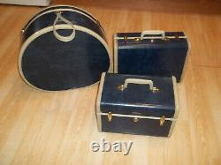 3 Pièce Vintage Samsonite Valise Bagages Ensemble Marbre Bleu