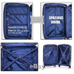 3 Pièces Ens Extensible Set De Bagages Hardside Spinner Valise Bagages Serrure Tsa