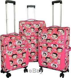 3pc Luggage Set Sac Voyage Roulant 4wheel Carryon Valise Verticale Extensible Betty Boop