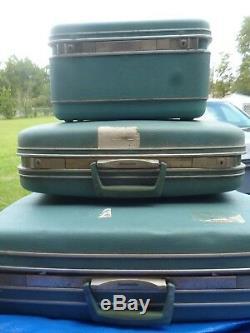 3pc Vintage Samsonite Silhouette Luggage Set Bleu