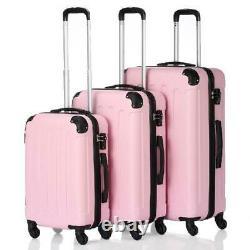 3pcs 20/24/28 Bagage Set De Voyage Sac Tsa Lock Trolley Porter Sur La Valise Rose