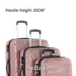 3pcs Hard Shell Bagages Valise Set Voyage Chariot À Bagages En Or Rose