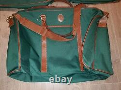 4 Pc. Ralph Lauren Polo Travel Luggage Set Green Brown Leather Trim