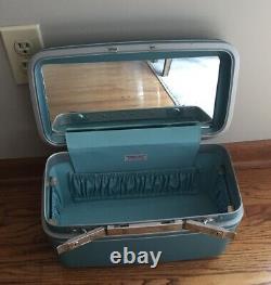 4 Pièces Vintage Samsonite Silhouette Set De Bagages Bleu Avec Boîtier De Train