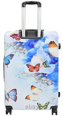 4 Valises Roue Multi Butterfly Pc Hard Shell Bagage Léger Sac De Voyage