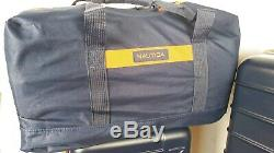 500 $ Nouveau Jeu Nautica Sea Tide 4 Pièces Hardside Bagages Sac Voyage Orange Bleu