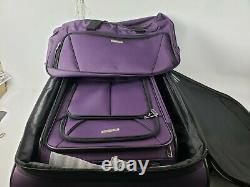 American Tourister 4 Pièces Softside Bagage Set Violet Rolling Valises