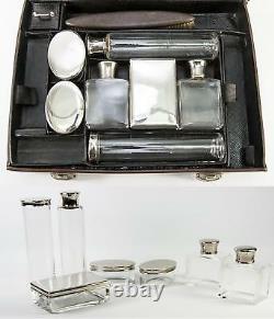 Antique P. Sormani Français Ou Vanity Set Voyage, Bagage, Jars, Etc. C. 1890-1910