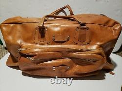 Antique Tooled Main Hancrafted Sac En Cuir Duffle Set Voyage Bagages