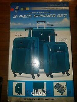 Atlantic Altitude Lite 3.0 Léger 3 Piece Spinner Luggage Set Foncé Turquois