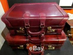 Avenues En Cuir 3 Pièces Luggage Set, 24, 21, 18, 2/3 Neuf, Set Rare