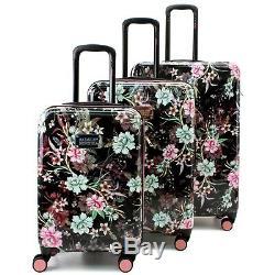Badgley Mischka Essence 3 Piece Luggage Set Dur Spinner (fleurs D'hiver)