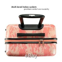 Badgley Mischka Essence 3 Piece Luggage Set Dur Spinner (rose Lace)