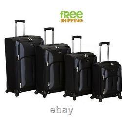 Bagages Légers Ensemble 4 Pièces Spinner Debout Carry On Case Quad Rolling Black