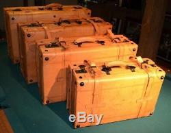 Baggages Style Vintage Bagages Vieux Cuir Décor Ensemble De 4 Affichage