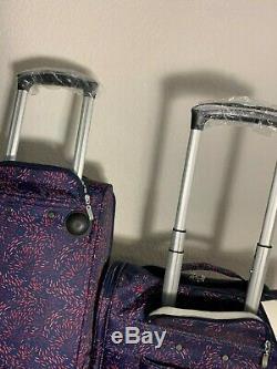 Baggallini Roulement Plum Fireworks Set Voyage Carry-le Duffle Bag Valise À Roulettes