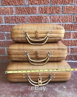 Belle Vintage Main Set Tissé De 3 Bamboo Nesting Suitcases MID Mod Suitcases