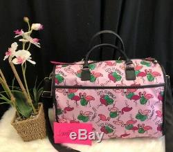 Betsey Johnson Flamant Rose Weekender Voyage Duffle Bag Wristlet Luggage Set