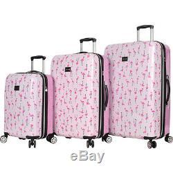 Betsey Johnson Flamingo Strut 3 Piece Luggage Set Hardside Spinner Nouveau
