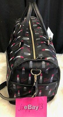Betsey Johnson Lipstick Black Weekender Voyage Duffle Bag Wristlet Luggage Set