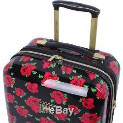 Betsey Johnson Set De Bagages 3 Pièces Spinner Hardside Covered Roses Nouveau