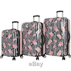 Betsey Johnson Stripe Roses 3 Piece Luggage Set Extensible Hardside Nouveau