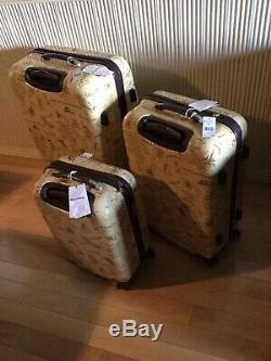 Brand New-tommy Bahama Tan Carte Imprimer 3 Piece Luggage Set Hardside Spinner