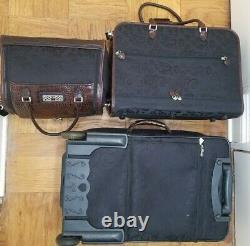 Brighton Brown Noir Luggage Set Valise Bagage À Main Suspendu Sac À Vêtements De Toilette