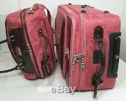 Brighton Ruby Rouge Luggage Set Valise Avec Couvercle Transparent Carry-on Cosmétique Pouches