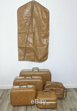 Camel Bag Vinyl Hard-shell Clés Case Set De 1970 Vintage Luggage Train De Vêtement