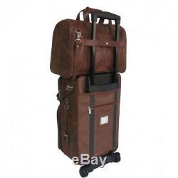 Carry On Luggage Set Cuir 2 Pièces En Patin À Roues Alignées Roues Intérieur Entièrement Doublé