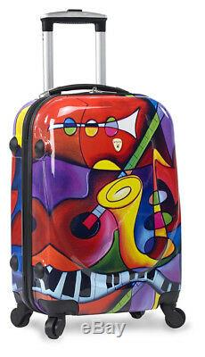 Dejuno 3 Pièces Poids Léger Hard Shell Spinner Upright Luggage Set Jazz