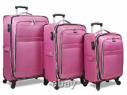 Dejuno Aria Softsided Léger 3-piece Spinner Bagages Ensemble Rose